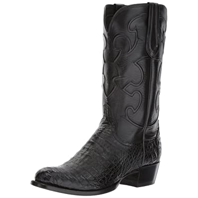 Lucchese Classics Men's Charles-blk Belly Croc/blk Derby Calf Riding Boot | Western