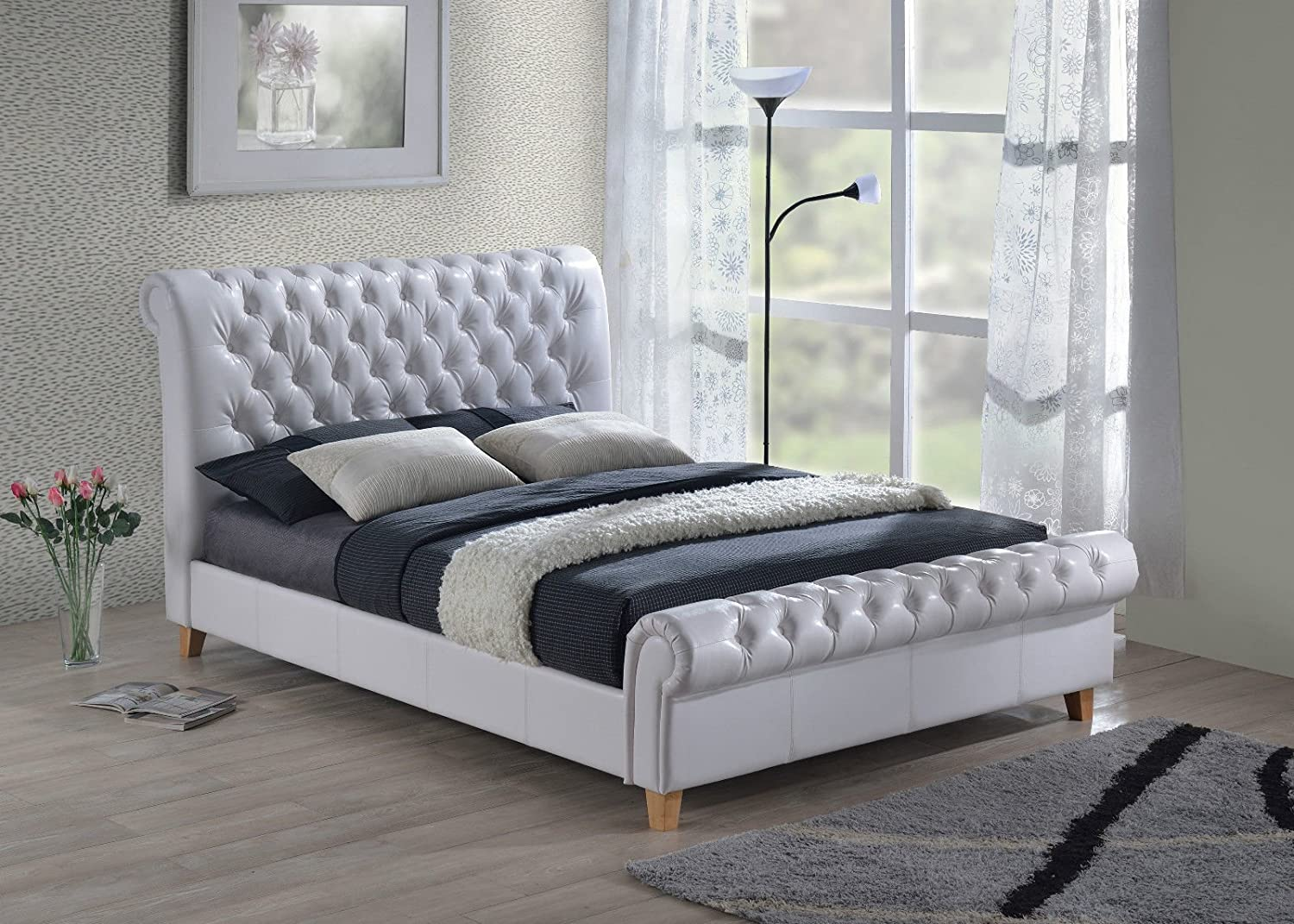 - New Luxury Chesterfield 5ft King Size White Leather Sleigh Bed