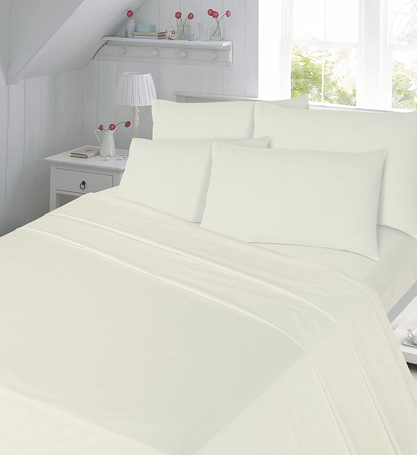 Percale 180 Thread Count Plain Dyed Flat Sheet in 4 size Single Double King Super King (Double, Black) topstyle