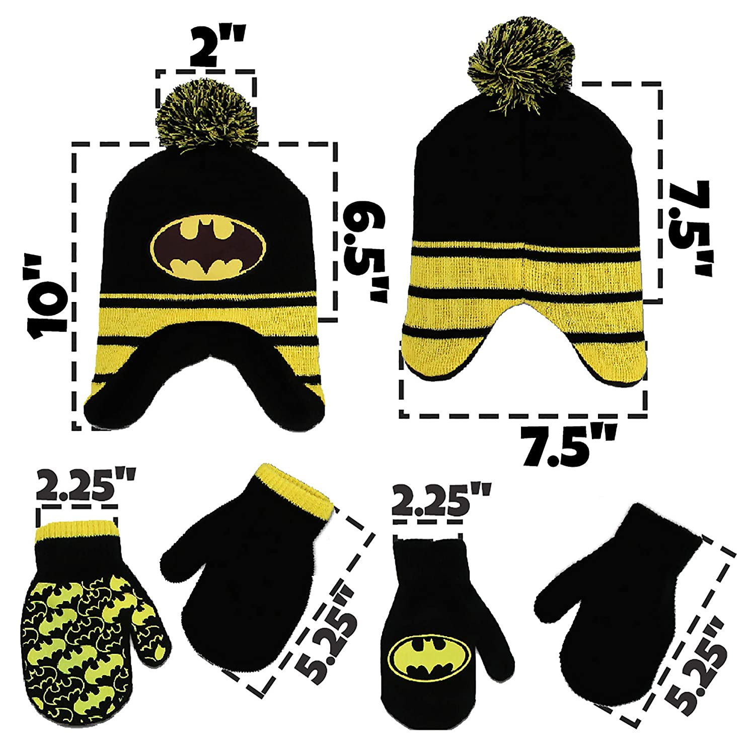 83f1cffbda9 DC Comics Toddler Boys Batman Hat and 2 Pair Mittens Cold Weather Set Sets  Age ...