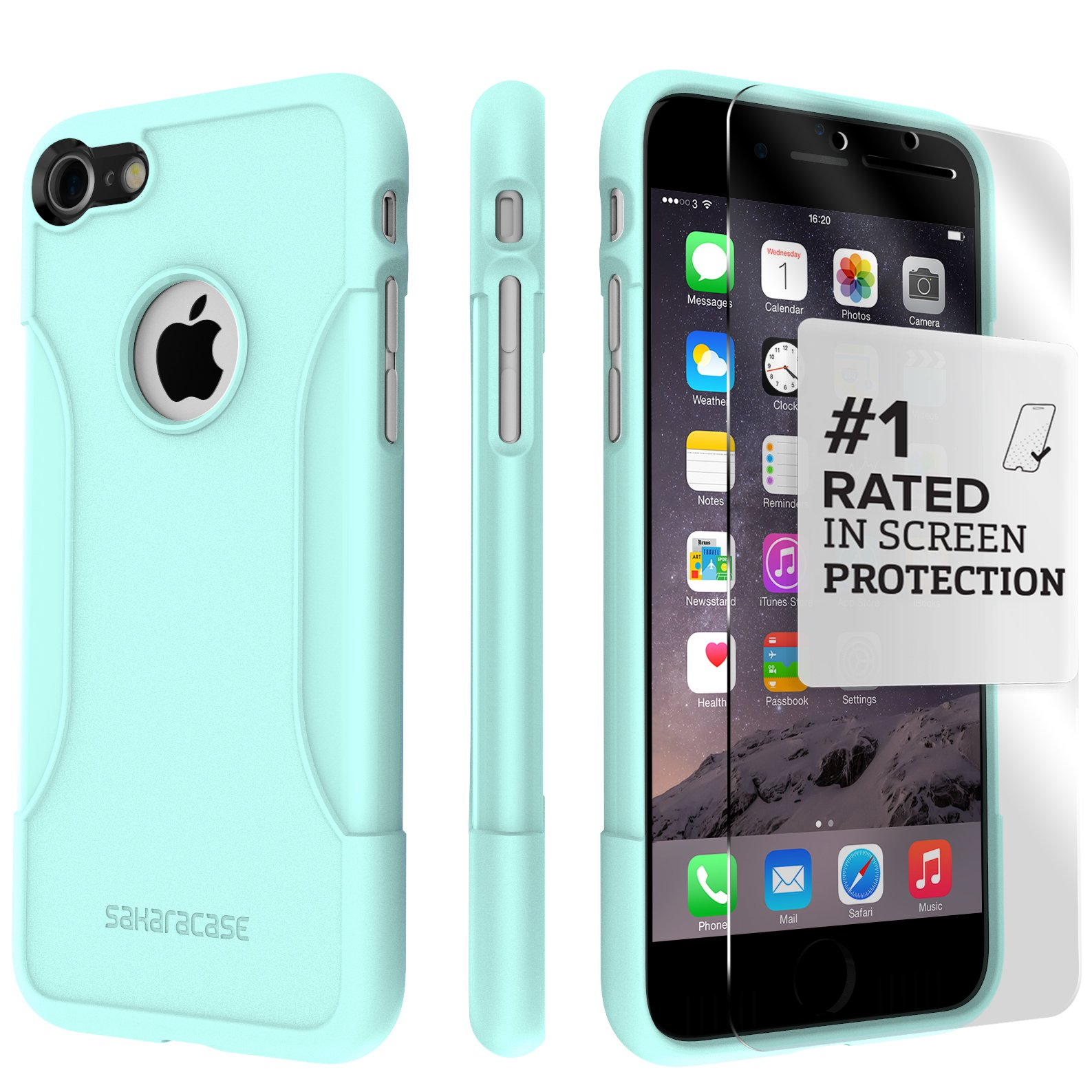 iPhone 8 Case and 7 Case, SaharaCase Protective Kit Bundle with [ZeroDamage Tempered Glass Screen Protector] Rugged Protection Anti-Slip Grip [Shockproof Bumper] Slim Fit - Aqua Teal by Sahara Case