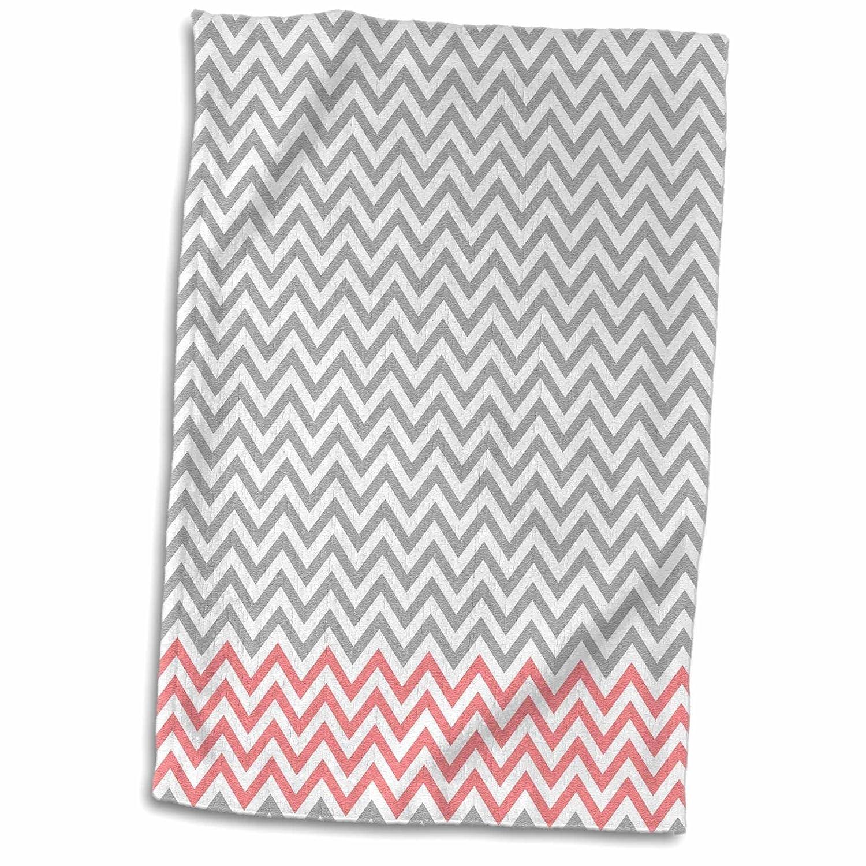 3D Rose Coral and Grey Chevron Stripes TWL/_178902/_1 Towel 15 x 22 Multicolor