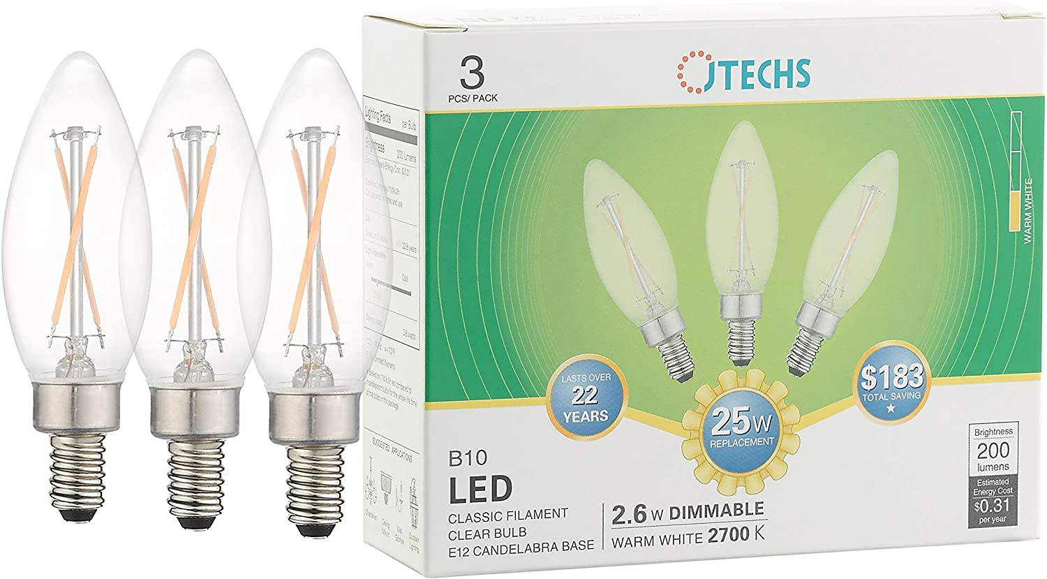 Candelabra Bulbs UL Listed Excellent in Dining Areas and Entryways Great with Crystal /& Glass Chandeliers Jtechs 90 Count B10 Contractor Pk; Clear LED Dimmable 25 Watt Equivalent 2700K Warm White