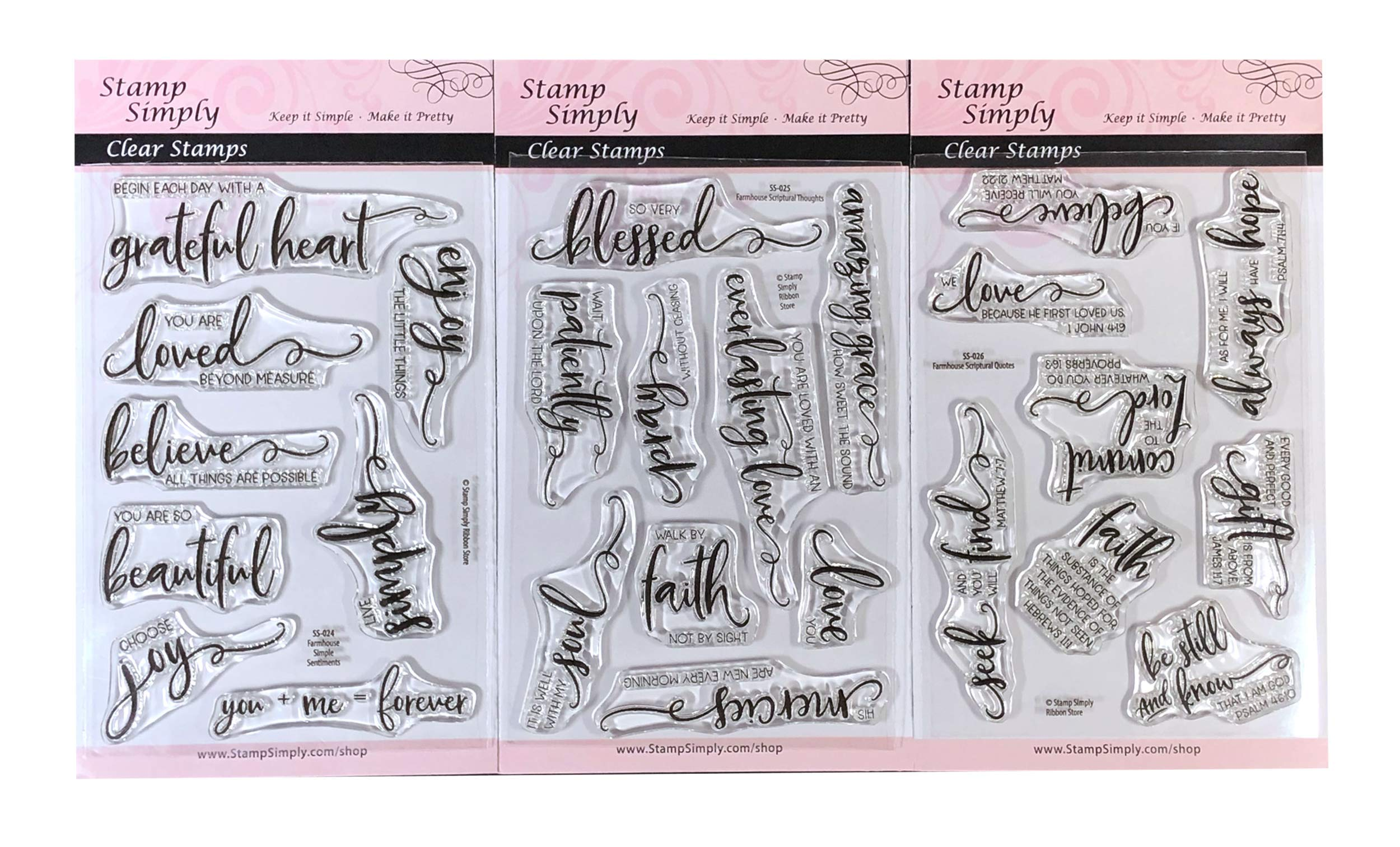 Stamp Simply Clear Stamps Scripture Sentiments Farmhouse Trio Words of Encouragement Christian Religious (3-Pack) 4x6 Inch Sheets - 25 Pieces by Stamp Simply