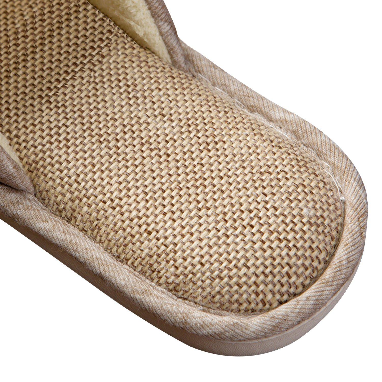 ONCAI Men's Cotton Linen Couple House Slipper Open Toe Terry Slipper (9-10.5 D(M) US, Gray-2) by ONCAI (Image #4)