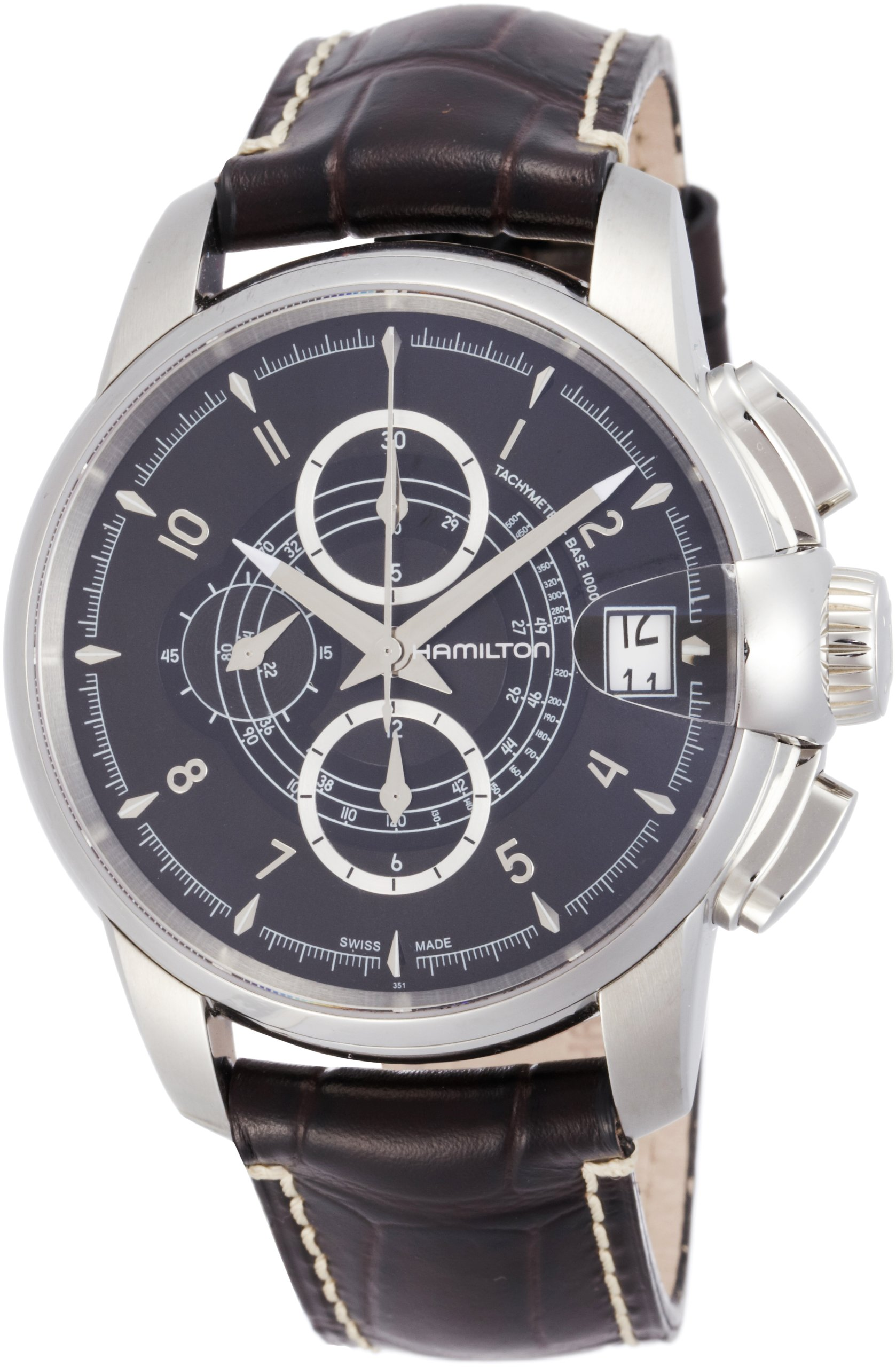 Hamilton H40616535 Men's Railroad Automatic Chronograph Black Dial Brown Genuine Leather Watch