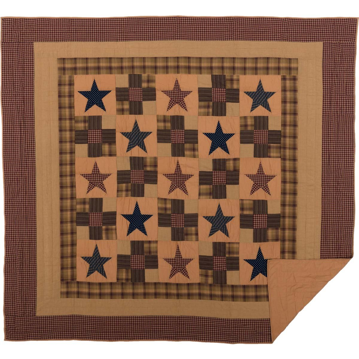 golden Tan King Ninepatch Star King Quilt by VHC Brands