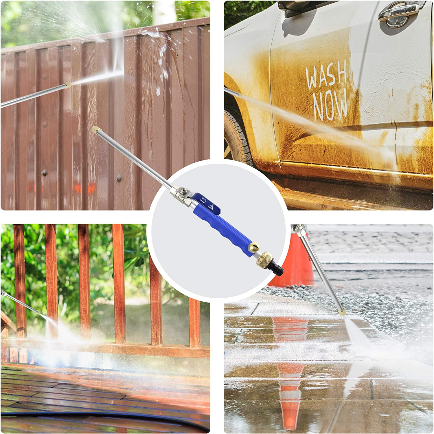 Hydrojet Water Power Nozzle Heavy Duty Metal Watering Sprayer with Universal Hose End Lapis Blue Hydro Jet High Pressure Power Washer Wand for Car Washing or Garden Cleaning