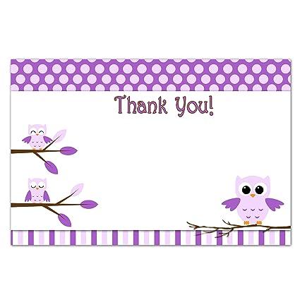 Amazon.com: 30 Purple Owl Blank Thank You Cards Girl ...