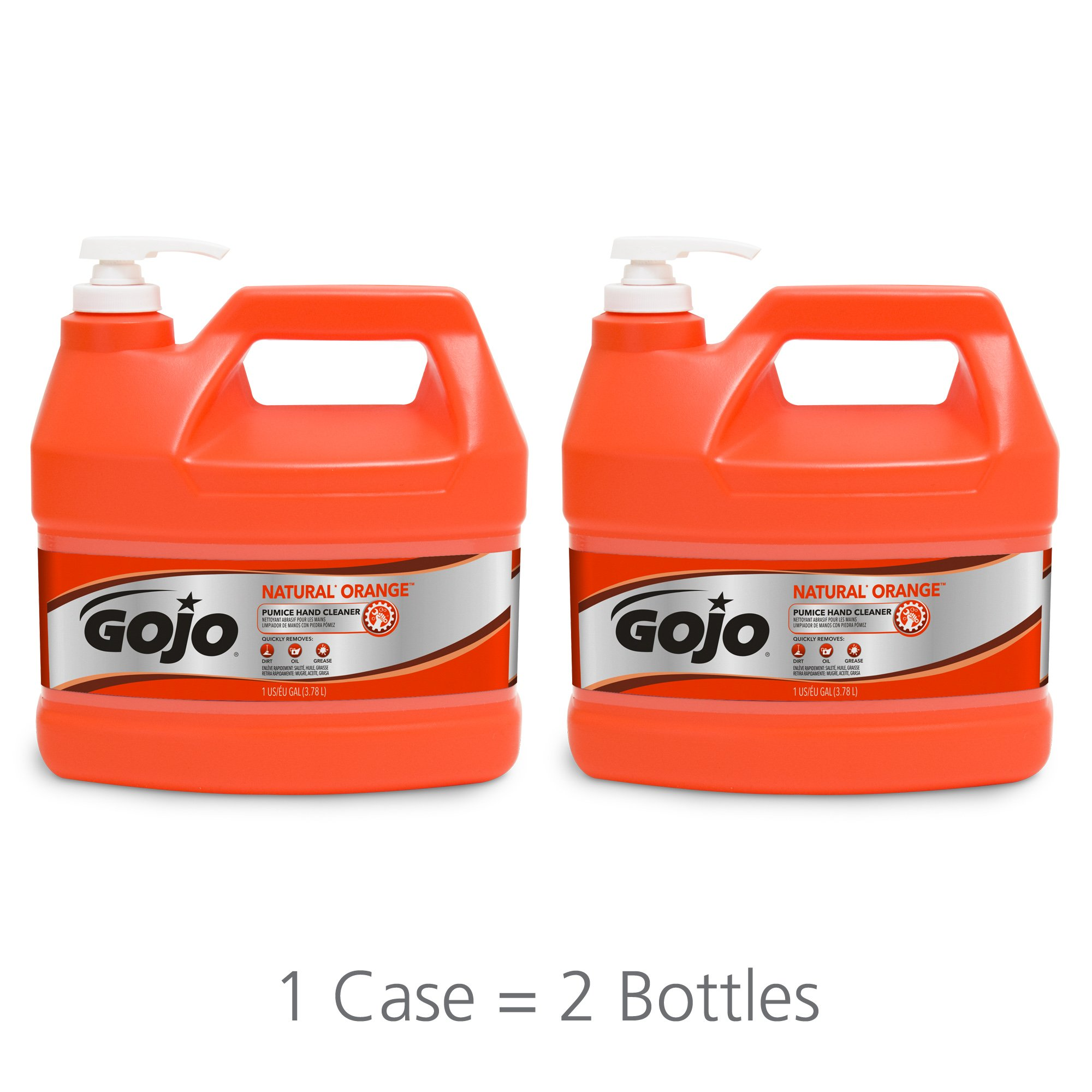 GOJO NATURAL ORANGE Pumice Industrial Hand Cleaner, 1 Gallon Quick Acting Lotion Hand Cleaner with Pumice Pump Bottle (Pack of 2) - 0955-02 by Gojo