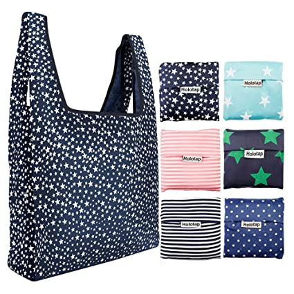 c262b02df88 Foldable Reusable Grocery Bags 6 Pack Holotap Folding Shopping Tote Bag  Fits in Pocket Nylon Reusable