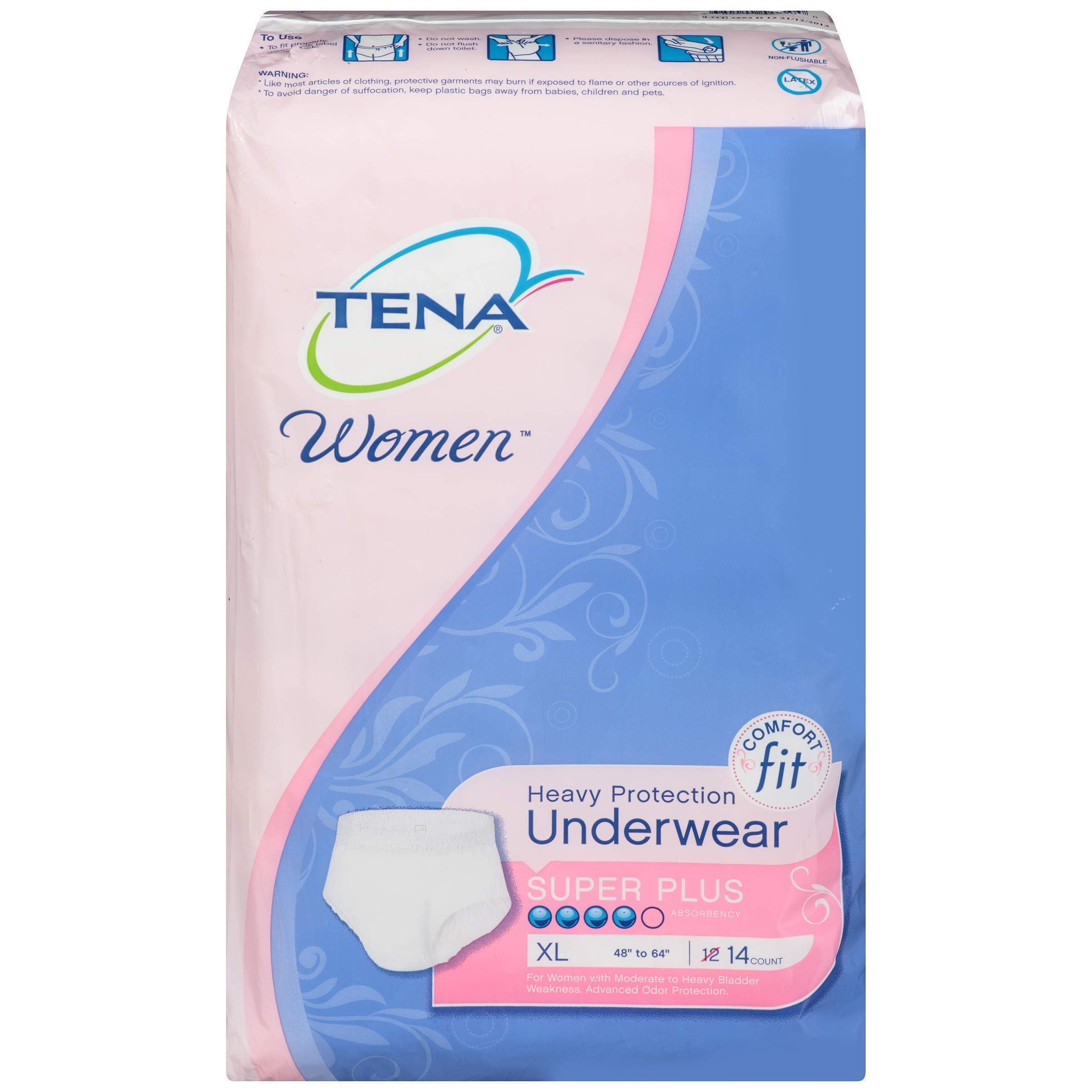 Tena Incontinence Underwear For Women, Protective, Xlarge, 14 Count