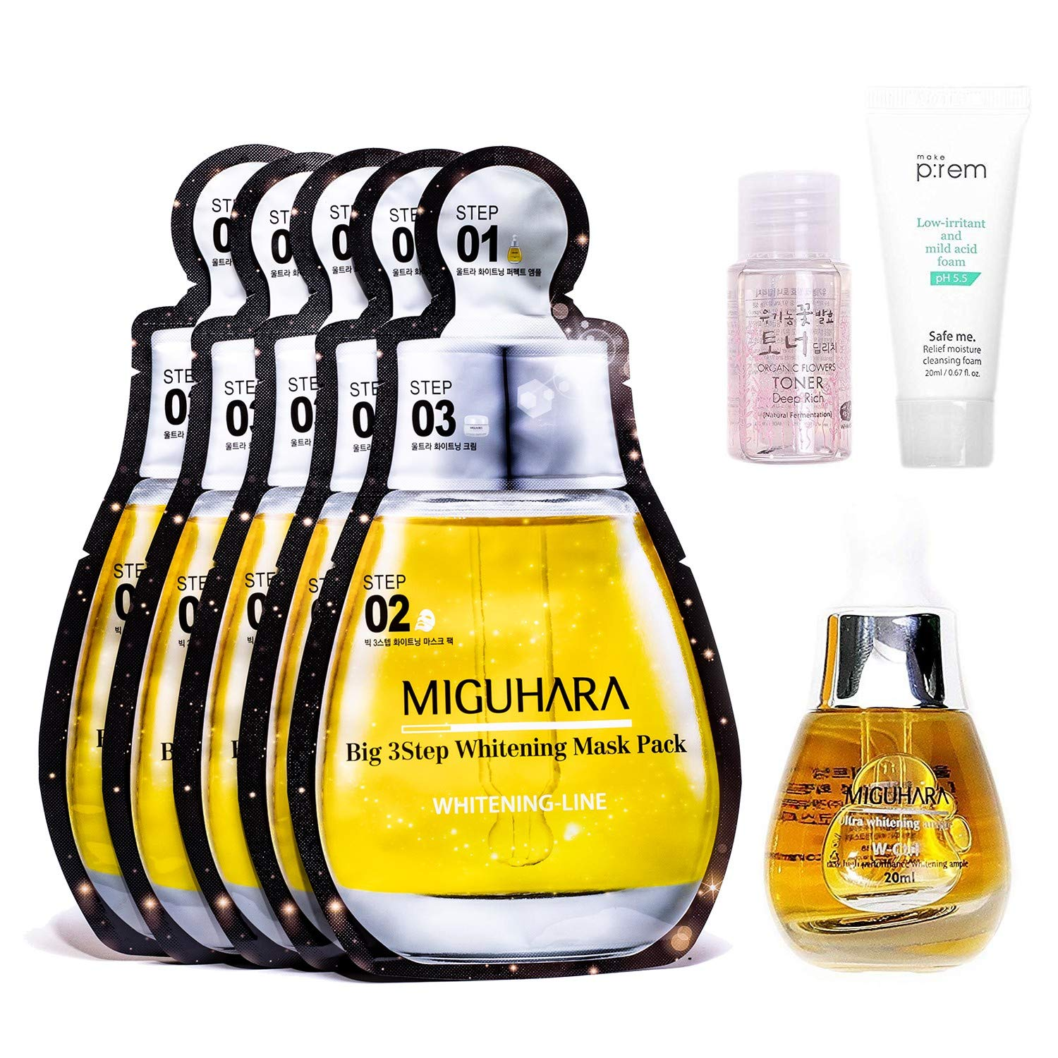 MIGUHARA Ultra Whitening Ample 20ml & Big 3 Step Ample Facial Mask of 5 sheets | Skin Brightening Whitening Ample formulated with Niacinamide Vitamin B3 & Allantoin, Moisturizing | Korean Skin Care