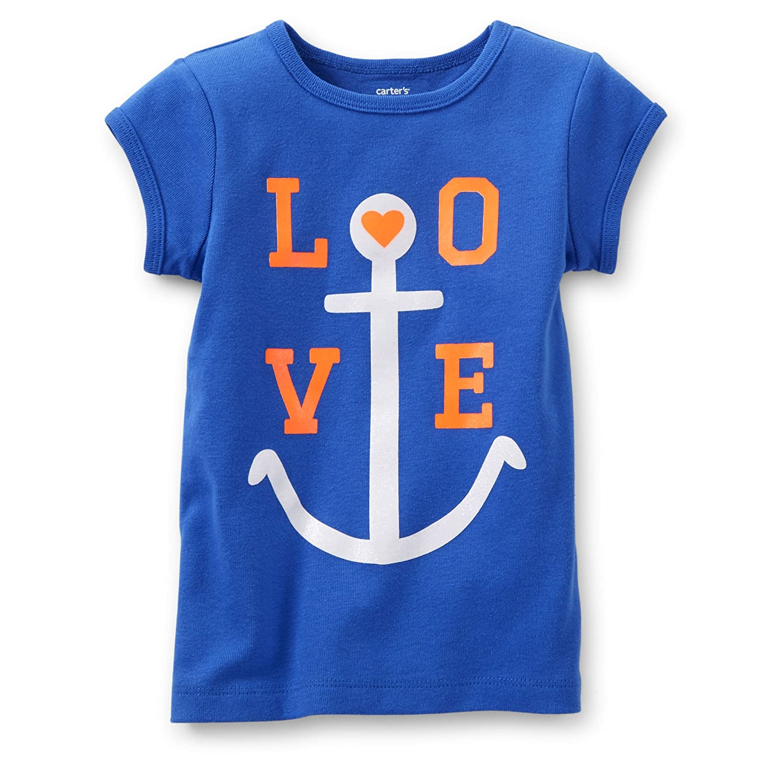 Carters Little Girls Love Anchor Tee 2 Toddler, Royal Blue