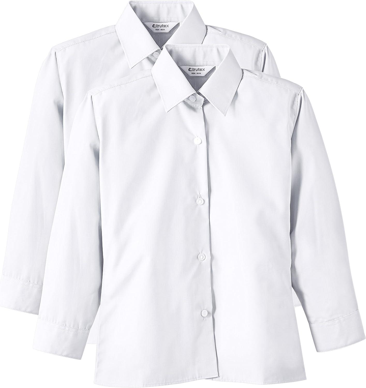 Trutex 2PK LS Non Iron Shirt, Camisa Niñas, Blanco (White), 13 cm: Amazon.es: Ropa y accesorios