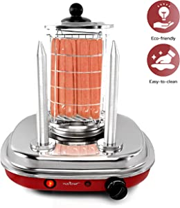 Professional Electric Hot Dog Steamer - Stainless Steel Steamer and Bun Warmer, Heating Temperature Control Via Thermostat Knob, Up to 8 Hot Dogs Capacity with Power On/Off Switch - NutriChef NCHDMK2