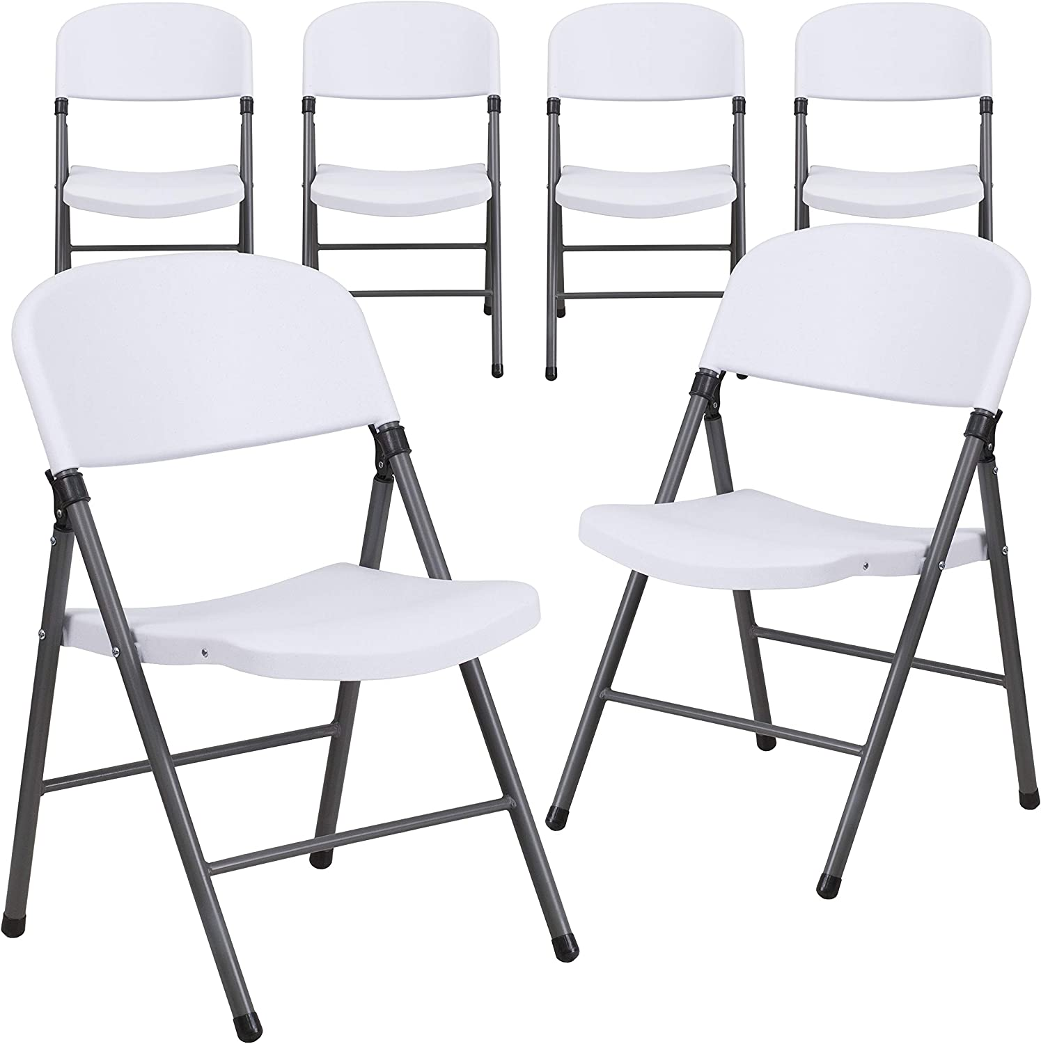 Flash Furniture 6 Pk. HERCULES Series 330 lb. Capacity Granite White Plastic Folding Chair with Charcoal Frame: Furniture & Decor
