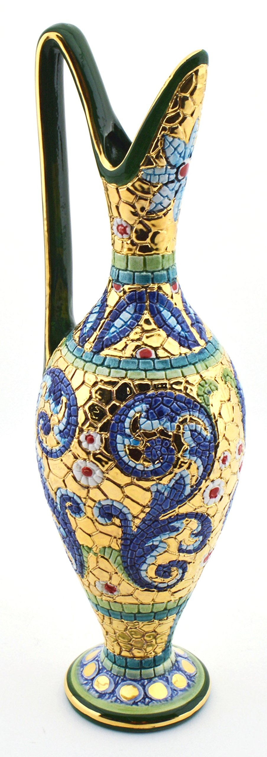 ART ESCUDELLERS Cermic multicolored JUG handpainted with 24K GOLD, decorated in BYZANTINE GREEN style. 3,15'' x 3,15'' x 10,63''