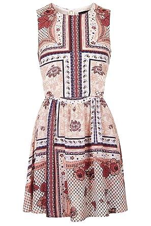 Topshop Scarf Print Sundress (UK 14, White)