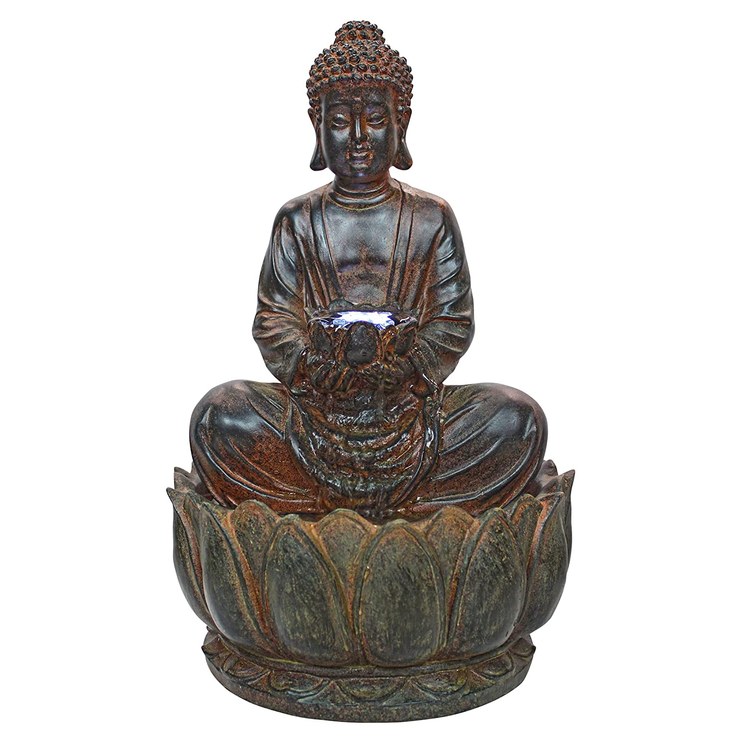 Asian Decor Water Fountain With LED Light   Endless Serenity Buddha  Tabletop Fountain   Desk Fountain Water Feature