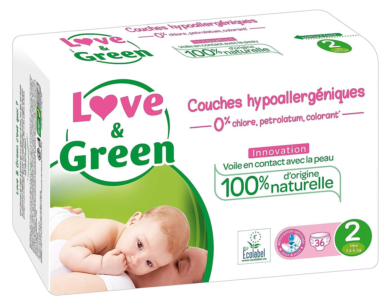 46 couches Taille 1 - Lot de 2 x 23 couches Love /& Green 2-5 kg Couches B/éb/é Hypoallerg/éniques 0/%