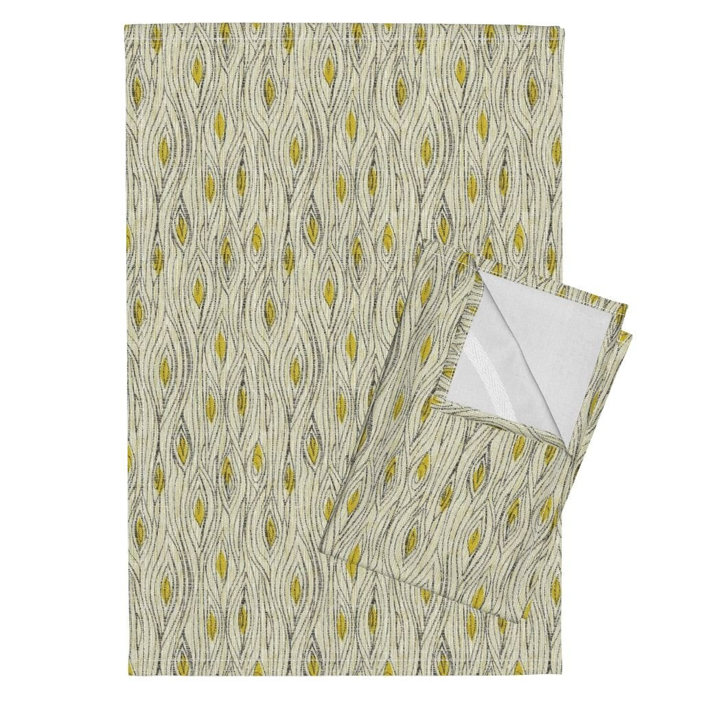 Roostery Wood Faux Bois Panelling Wood Grain Mustard Baby Tea Towels Wood Grain Small Scale by Ottomanbrim Set of 2 Linen Cotton Tea Towels