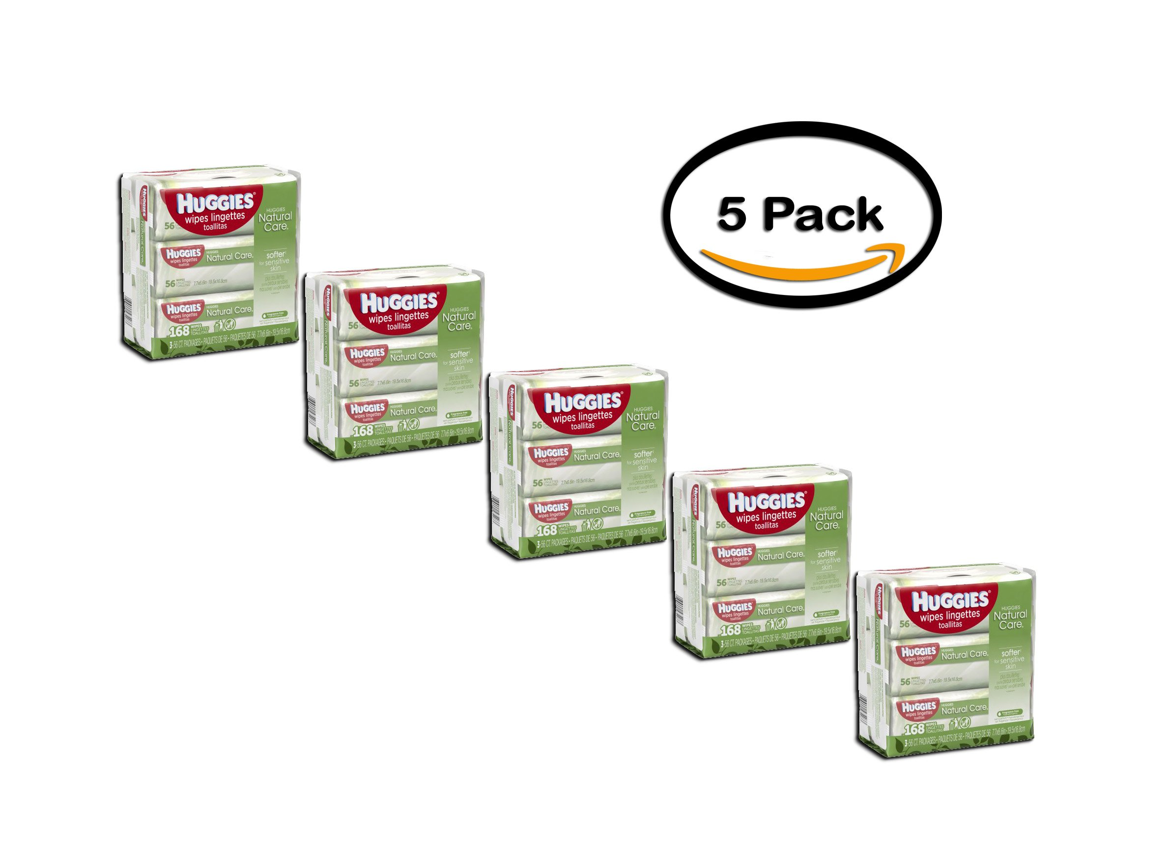 PACK OF 5 - Huggies Natural Care Baby Wipes, Sensitive, 3 packs of 56 (168 count)
