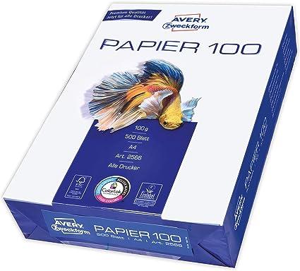 Avery 2566 - Papel (DIN A4, 100 g/m², 500 hojas): Amazon.es: Oficina y papelería