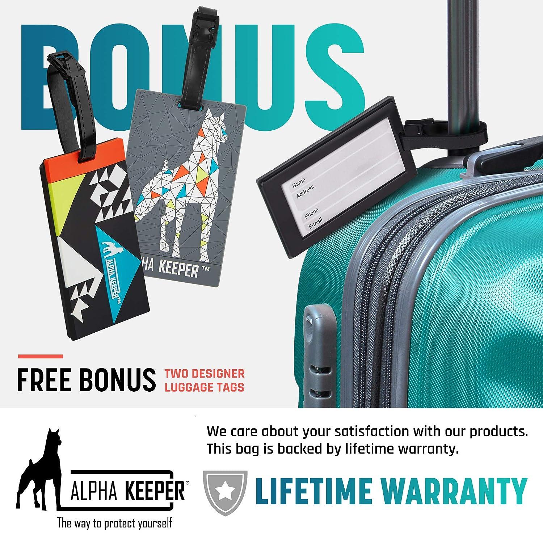 Alpha Keeper Portadocumentos viaje con banda para el cuello y bloqueo RFID Incluye 2 etiquetas para equipaje Organizador de docu-mentos con funda pasaporte para hombre y mujer NUEVO MODE-LO 2019