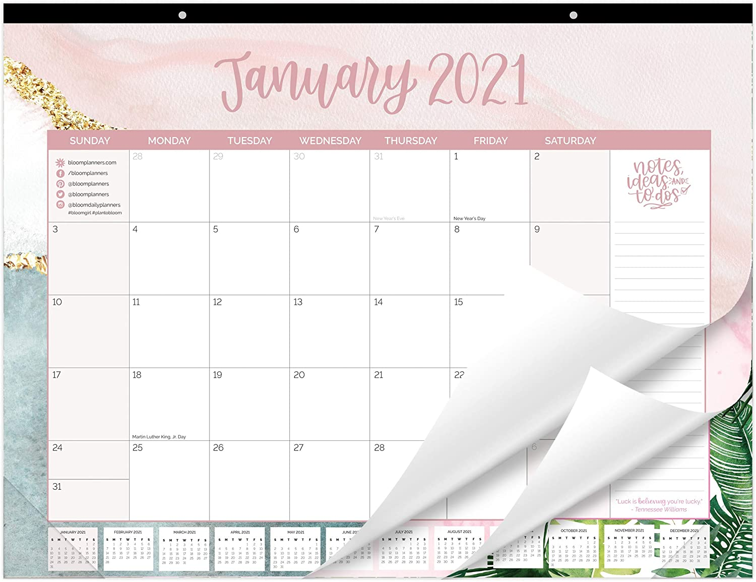 "bloom daily planners 2021 Calendar Year Desk/Wall Monthly Calendar Pad (January 2021 - December 2021) - Large 21"" x 16"" Hanging or Desktop Blotter - Multicolor"
