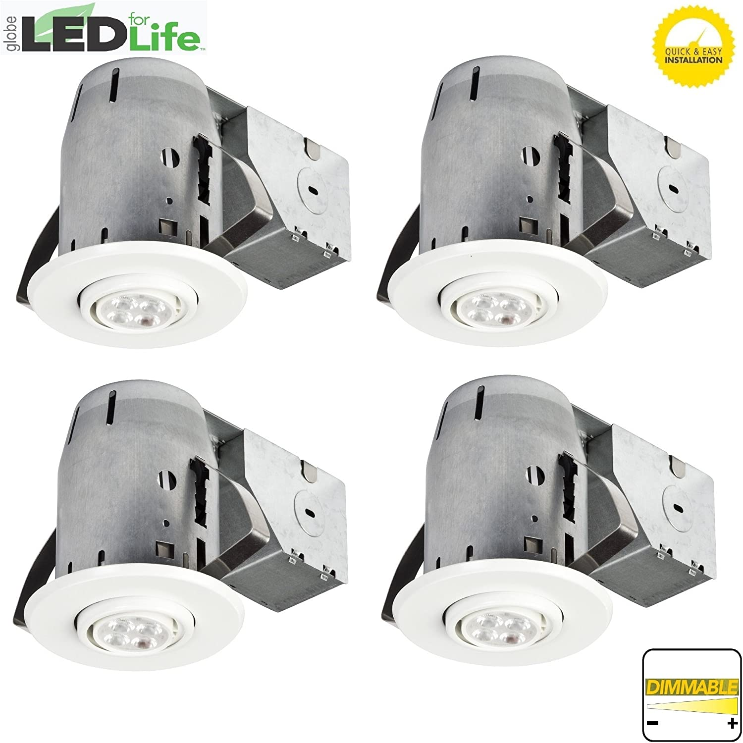 Amazon globe electric 4 led ic rated swivel spotlight recessed amazon globe electric 4 led ic rated swivel spotlight recessed lighting kit dimmable downlight 4 pack round trim white finish easy install aloadofball Images
