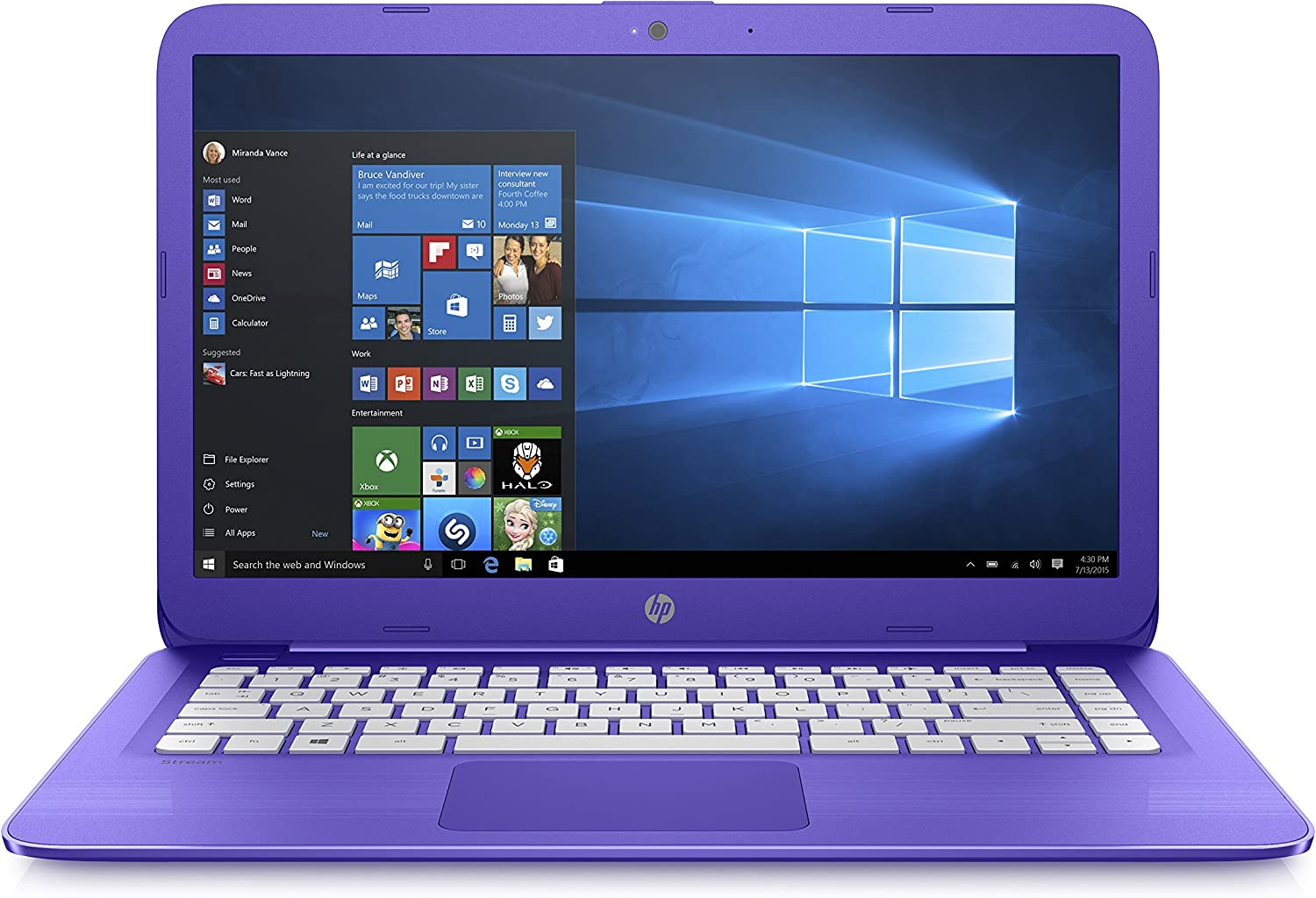 HP Stream 14-inch Laptop, Intel Celeron N4000 Processor, 4 GB RAM, 64 GB eMMC, Windows 10 S with Office 365 Personal for One Year (14-cb180nr, Purple)