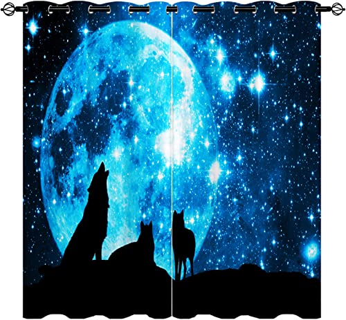 Best window curtain panel: Wolf Curtains,Fantasy Galaxy Wolf Starry Sky 3D Pattern Grommet Blackout Curtains 2 Panels Set