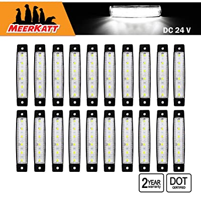 Meerkatt (Pack of 20) 3.8 Inch White 6 LED Side Clearance Marker Light Indicator Lamp Tail Back Up Rear Reverse Trailer Truck Cap Camper Buses Pickup Vans ATV Lorry Ambulance Boat RV 24v DC Model TK24: Automotive
