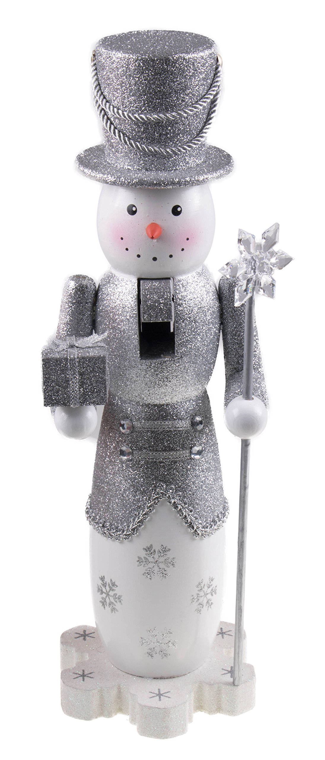 Tall Snowman Nutcracker by Clever Creations | Glittery Silver Outfit with Tophat | Holding Gift and Snowflake Scepter | Perfect for Any Collection | Festive Christmas Decor | 14'' Tall