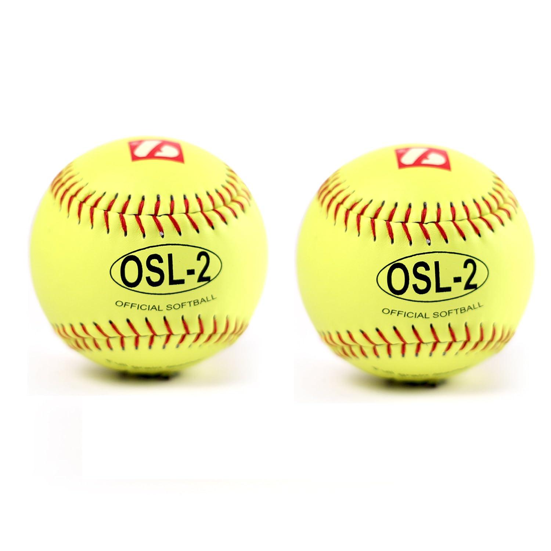 OSL-2 full grain leather neon softball ball size 12 yellow with red stitching 2 pcs size 12 barnett sports