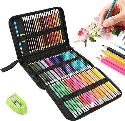 E-More - Juego de 72 lápices de colores profesionales para acuarela, juego de lápices de dibujo con pinceles y estuche con cremallera, juego de lápices para colorear para adultos, colorear, escribir: Amazon.es: