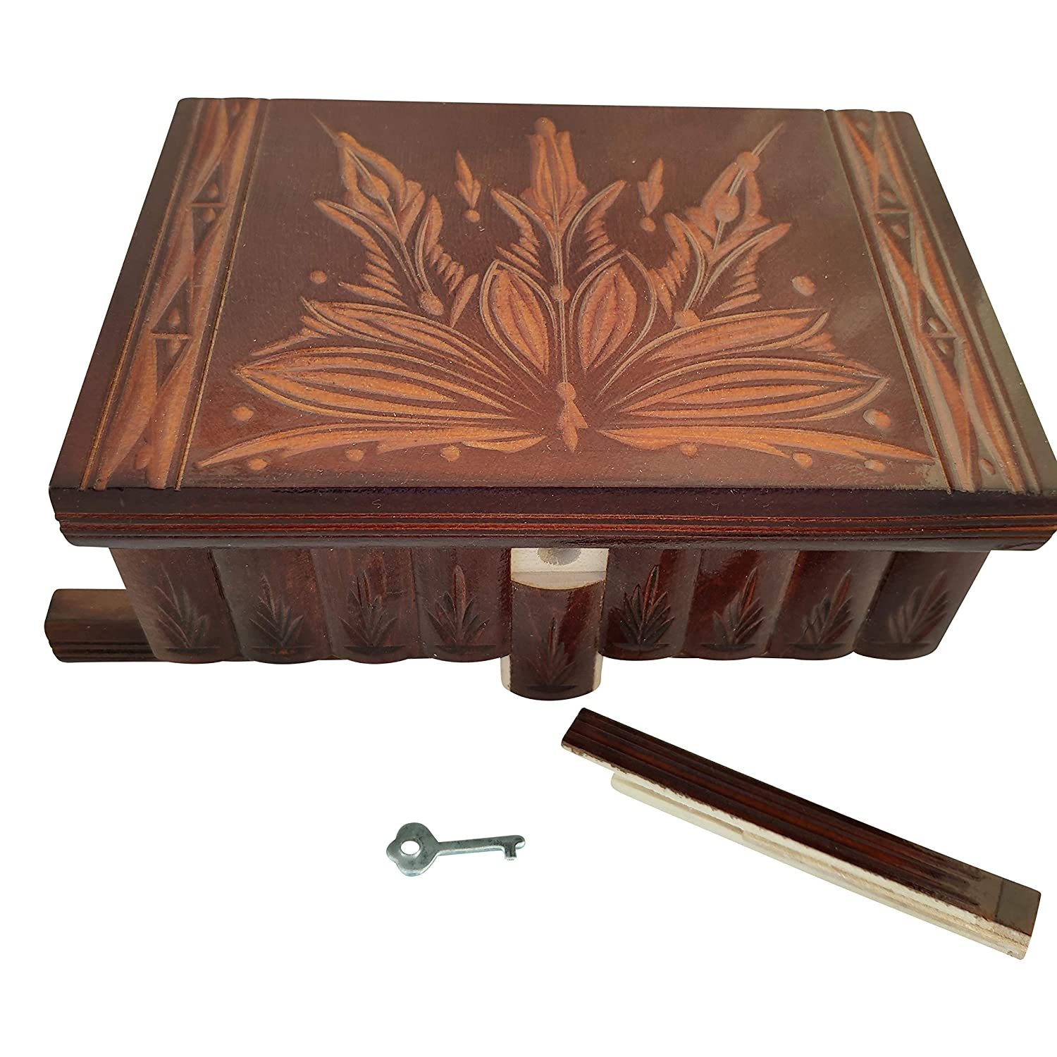 Decorative Storage Box for Jewelry - Top Quality Elegant Box with Easy Open//Closing Mechanism Great Gift Reddish-Brown Toys Large Puzzles Handmade Wooden Puzzle Boxes with Hidden Compartment