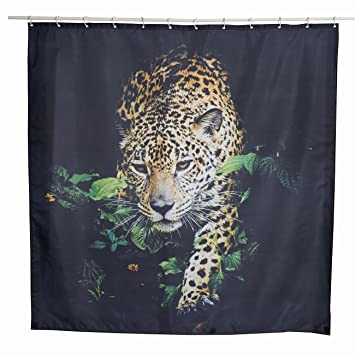 Amazoncom Alicemall Black Shower Curtain 3d Super Cool Leopard