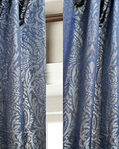 Blue Isabella Faux Silk Lined Top Pole Pocket Window Curtain Panel Drape 52″W X 108″L