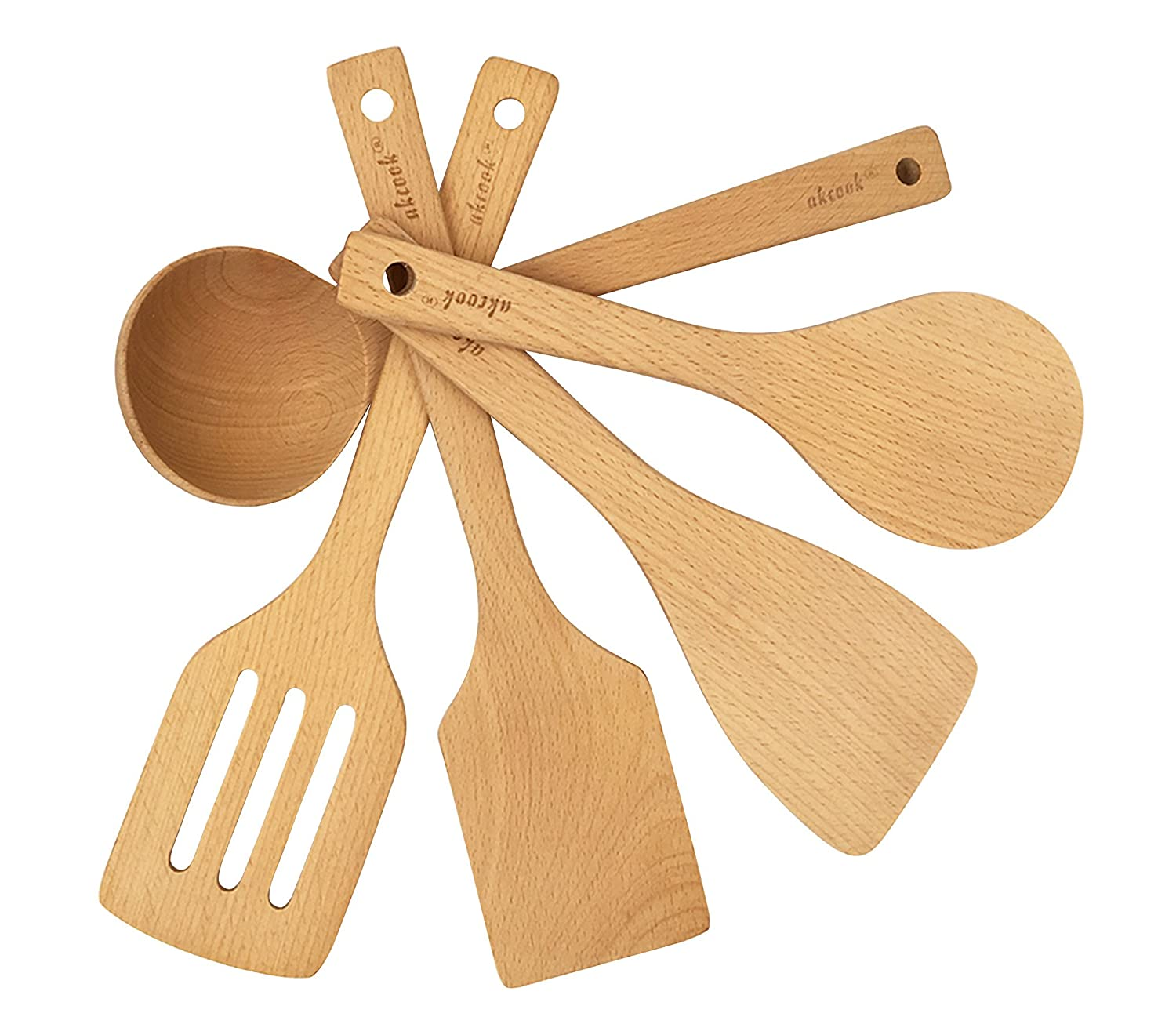 AKcook 5-Piece Cooking Tools Set, Wood Kitchen Utensils, Turner Spatula Ladle BOBZYXL COMINHKPR122630