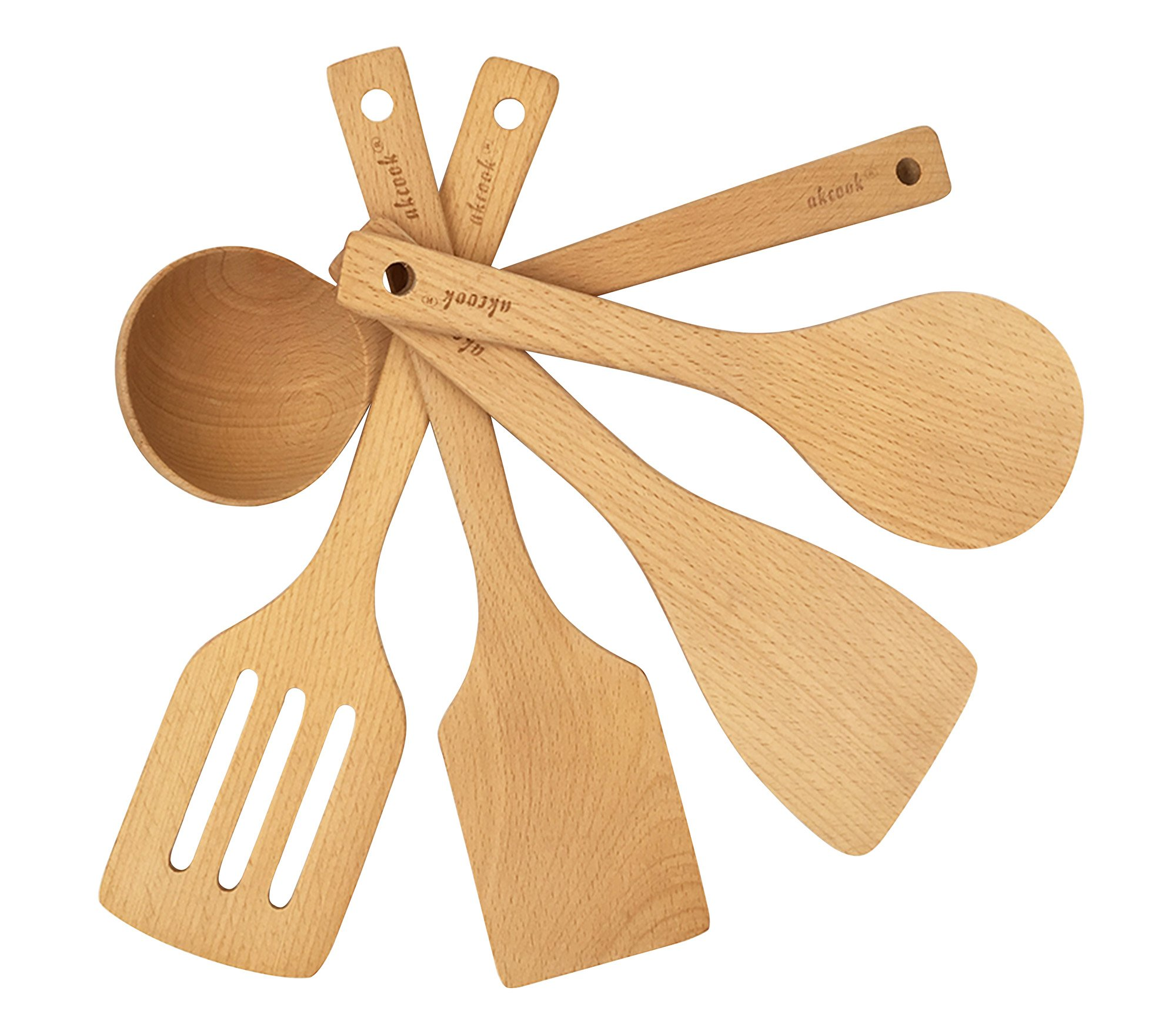 AKcook 5-Piece Cooking Tools Set, Wood Kitchen Utensils, Turner Spatula Ladle