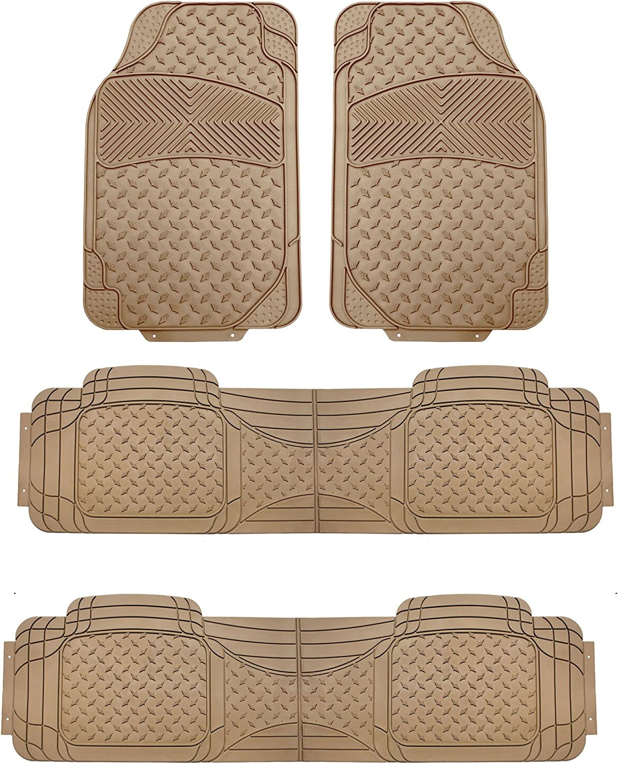 FH Group F11307 Semi-Custom Trimmable Vinyl Floor Mats Three Row Set, Beige Color- Universal Fit for Cars Trucks and SUVs