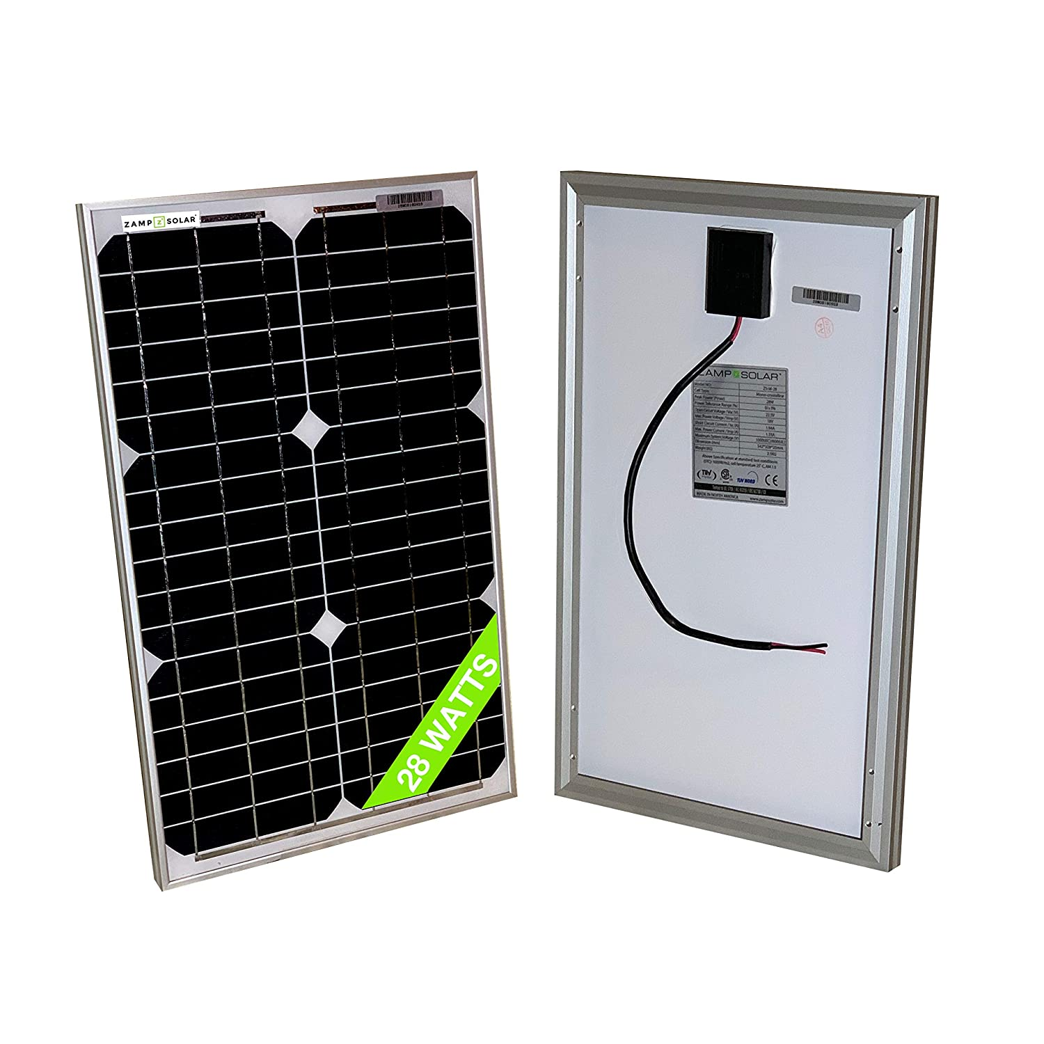 28 Watt Mono 18V Solar Panel 20W 25W 30W RV Van Solar Car Battery Charger Portable Solar Panel Trickle Charger 12 Volt Batteries Motorcycle RV Boat Marine UTV, ATV, Solar Generator Zamp Solar