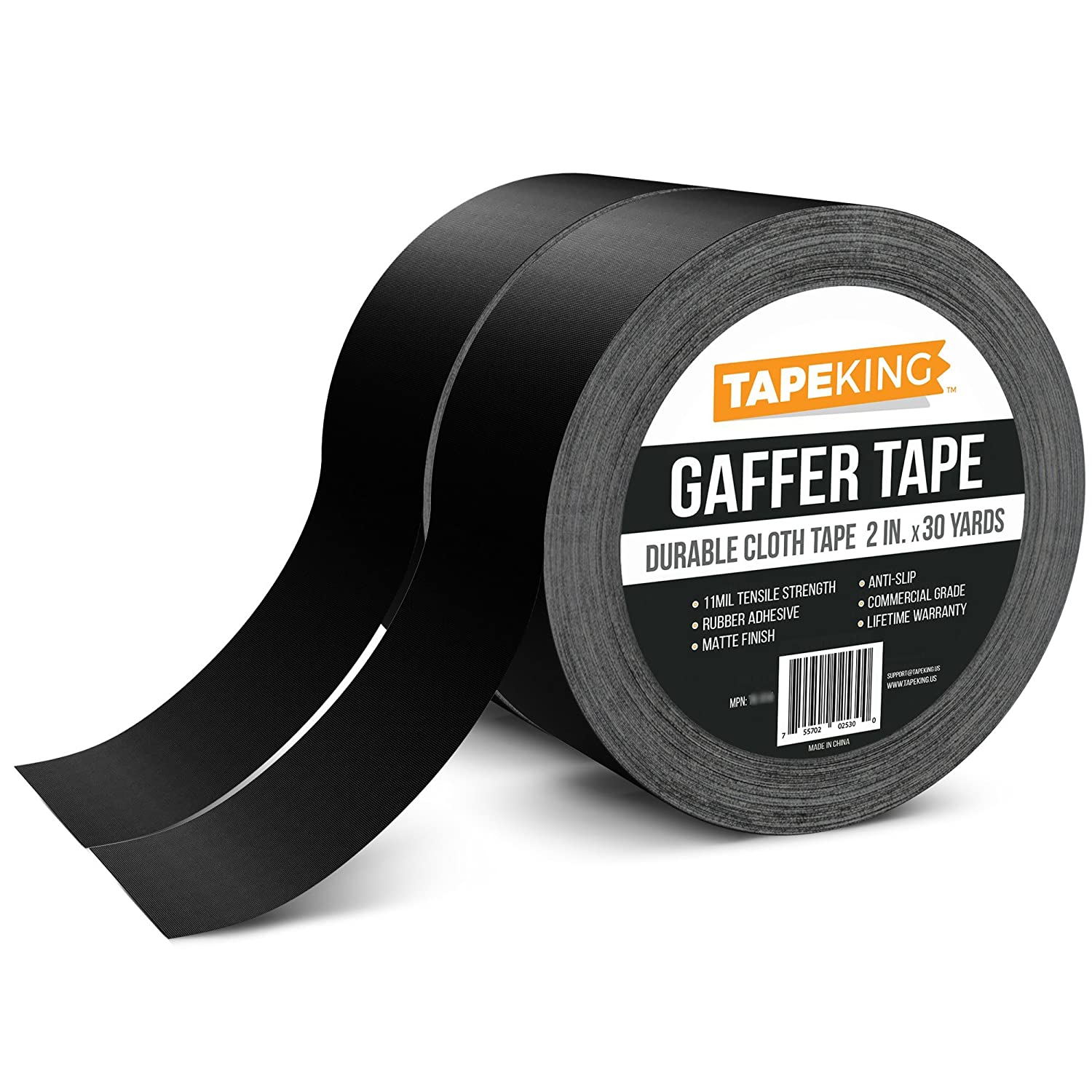 Tape King Gaffers Tape Black (2-Pack) Professional Grade Premium Gaffer, 2 Inch X 30 Yards Per Roll