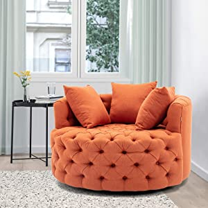 Modern Akili Swivel Accent Chair Barrel Chair for Home Living Room/Modern Leisure Chair (43.70 Inches, Orange)