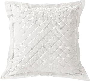 """HiEnd Accents Diamond Pattern Linen Quilted Euro Sham, 26""""X26"""" Vintage White"""
