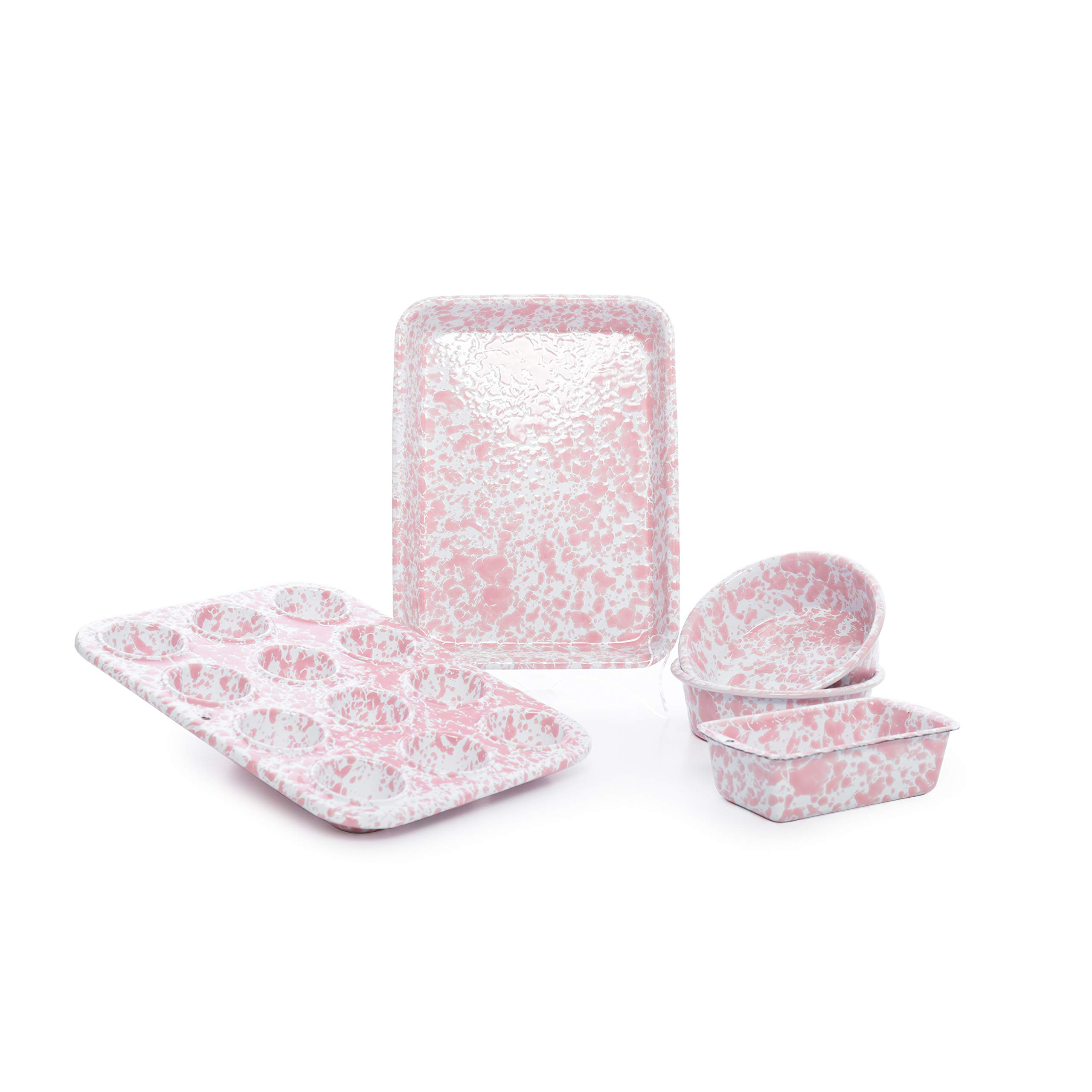 Enamelware Children's First Bake Set, 5 piece, Pink/White Splatter by Crow Canyon Home (Image #1)