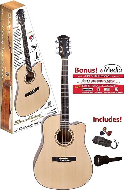 Spectrum AIL45BW - Guitarra acústica, tamaño Completo, con Bolsa y ...