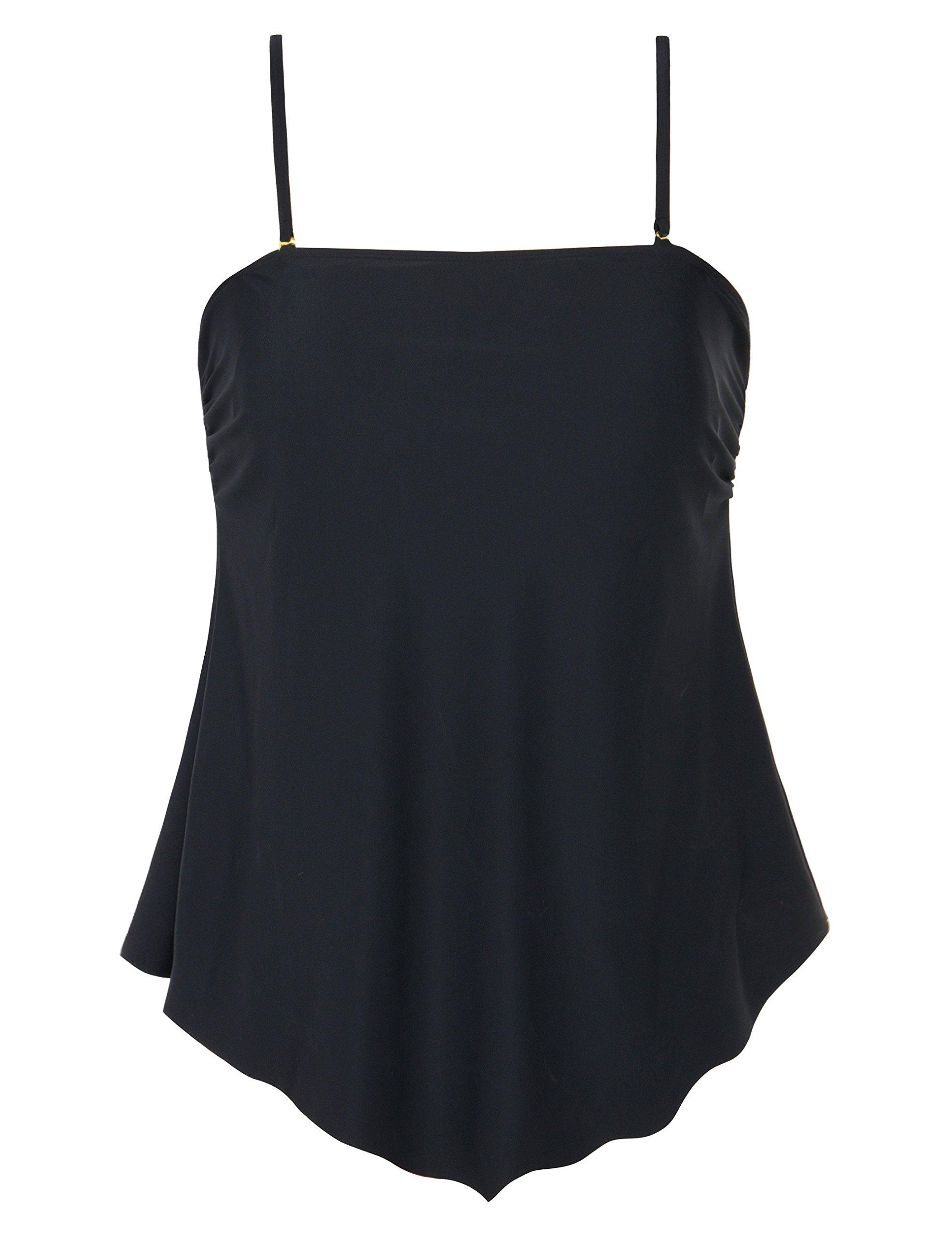Mycoco Women's Flowy Swimsuit Solid Bandeau Tankini Top Irregular Hemline Swim Top Black 8